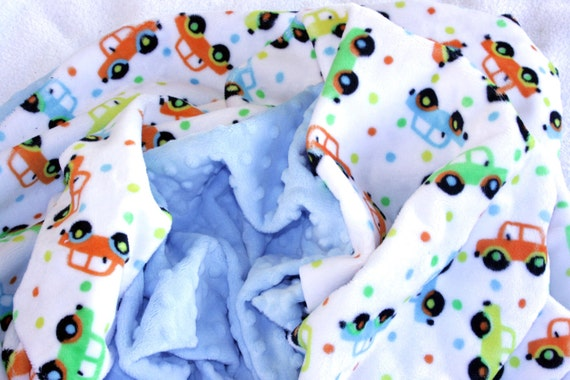 Taxi Car Minky Baby Blanket with Baby Blue Dot Back includes personalization
