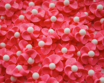 Royal Icing Flowers in Sparkling Bold Pink w/ White Matte Sugar Pearl Center (50)
