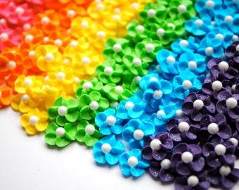Royal Icing Flowers-  Handmade Rainbow Sparkle Mix w/ White Sugar Pearl (60)