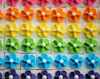 Royal Icing Flowers on Sugar Cubes-  Rainbow Mix (25)