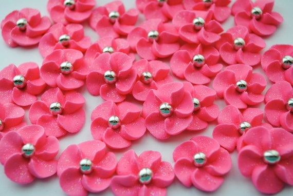 Hot Pink Royal Icing Sugar Flowers With Sparkles and a Silver Dragee Center (24)