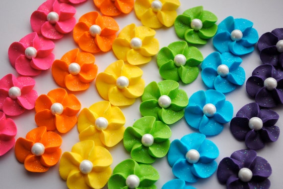 Royal Icing Flower Cupcake Toppers- Rainbow Mix w/ White Sugar Pearl (30)