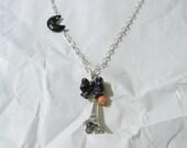 Necklace. Jewelry, Silver, chain, eiffel tower, charm,  coral, bow, Paris, French, france, EMJewelry handmade gemstone jewelry by eri059