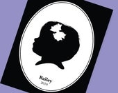 Custom Child Portrait in Silhouette (8x10) Keepsake Expertly illustrated with Great Detail