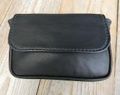 The Unisex Wallet Belt Bag/Purse Lined, Fanny Belt Pouch in Black Leather