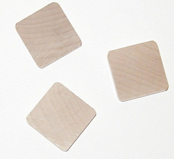 25 Craft wood tiles - square pendant or maganets- scrapebooking lettering and more. Larger than scrabble tiles