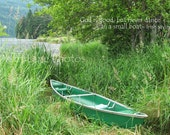 Little Green Boat in the Grass photo card with Irish saying