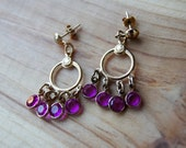 RESERVED for dizzydog13 - Vintage dangle earrings with pink jewels