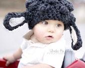 Dark Grey Slouchy Chunky Frumpy Lamb Baby Infant Newborn Toddler Hat Spring Easter