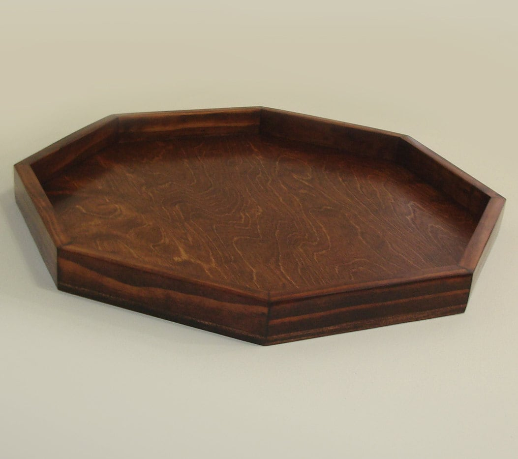 24 X 24 Red Oak Stain Octagon Ottoman Tray By