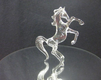 Small glass rearing horse