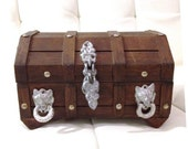Treasure Chest Jewelry Box Vintage 1970s Wood Metal Brown Silver Pirate Booty