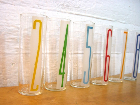 Number Tumblers Vintage Glassware With Numbers Cocktail Party Glasses