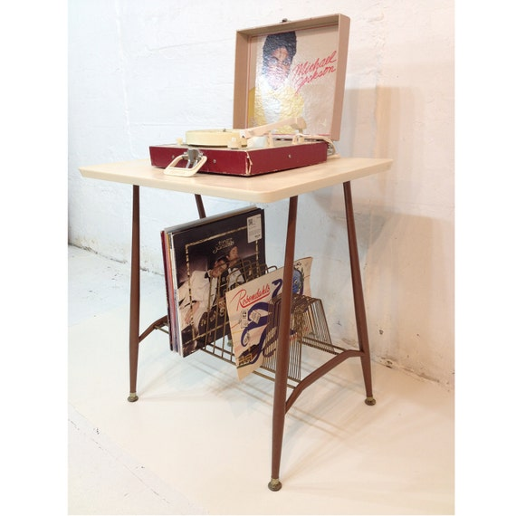 Record Player Stand Mid Century Modern TV Table Metal Brown and White or Cream