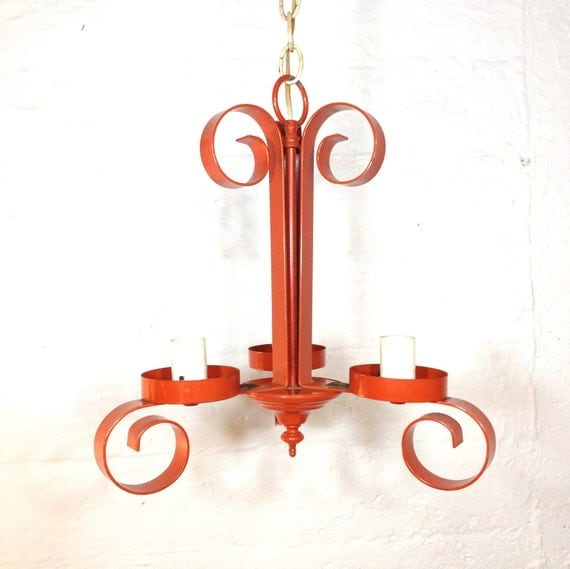 Handsome Orange Chandelier Gothic Seventies Metal Standard Bulb Base Curly Scroll Hanging Lamp