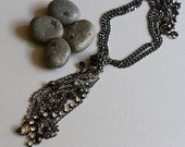 FREE shipment Tassel with chains, rhinestone and beads just around the neck