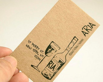 200 Business Cards or tags - 13 PT brown kraft paper - environmentally friendly - full color custom printed