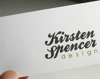 200 Business Cards - blind embossed - 14PT matte stock -  custom printed