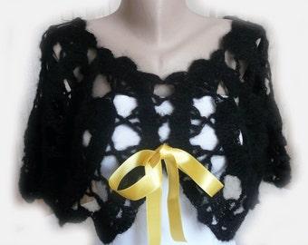 Crochet Black Shrug Wrap Bolero Poncho, Holiday accessories, Women, Cover up, Lace Jacket, Evening Bolero, Cover Up, Large Stitch