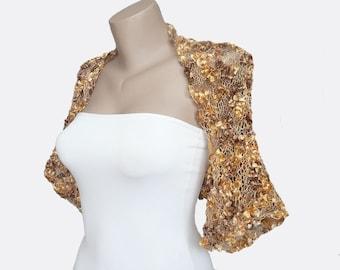 Multicolor Bolero-Yellow Brown Bolero-Autumn Color Bolero-Wedding Shrug-Bolero Jacket-Mother of the bride-Bridesmaid Bolero-Bridal Bolero