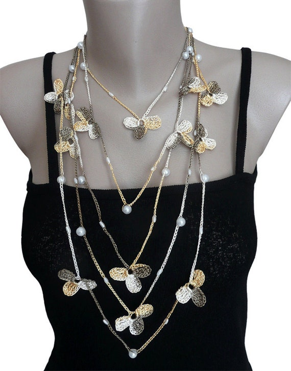Crohet  Necklace, Lariat or Scarf, Flower,  in White, Brown and Yellow, Woman, Girl