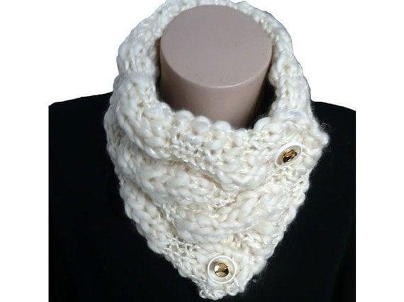 Knit Milk White Cowl Neckwarmer Scarf, Winter Accessories, Gift Fall Fashion