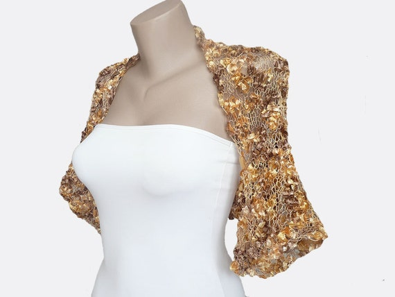 Hand Knit Multicolor in Gold Yellow Brown  Bolero. Shrug Sleeves Jacket,  size M - L,  Weddings Bridal,  Bridesmaid, Women, For her