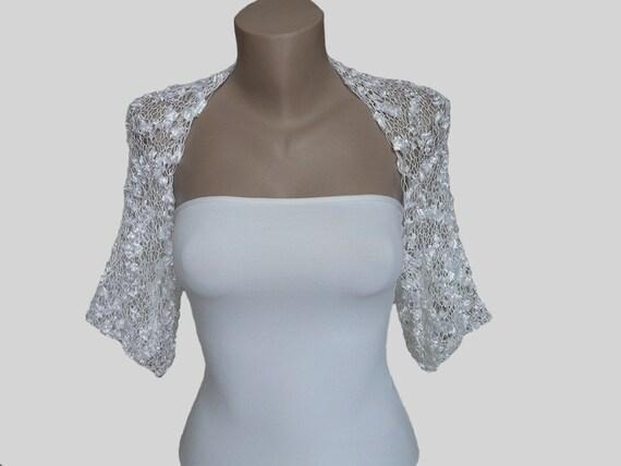 Knit white bolero shrug sleeves jacket wedding bolero one for White bolero for wedding dress
