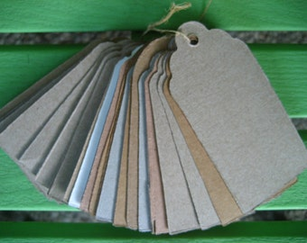 15 Large Recycled Tags- 3.75 in x 2 in