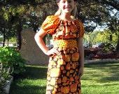Girls Halloween Dress - Orange and Black Pumpkin Dot 6-8yr