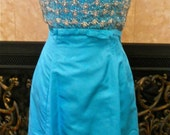 1970s or 60s teal blue beaded cocktail dress.