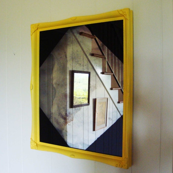 Yellow Vintage Frame with Handmade Mirror