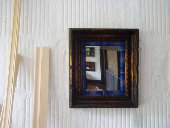 Vintage Mirror with Copper & Blue Plaid Frame