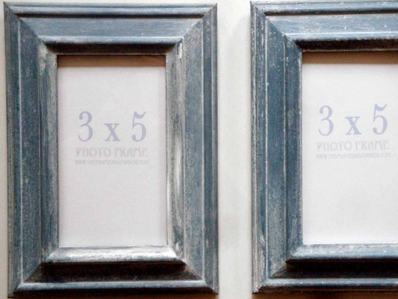 French-Blue & White-Washed Frame Pair