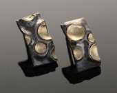 "Sterling Silver & 18k Gold ""Moon Crater"" Post Earrings, Oxidized"