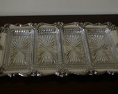 FB Rogers silverplate tray with glass servers