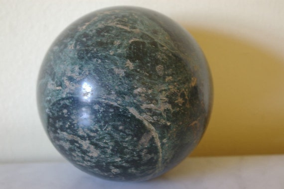 Vintage large green marble or stone ball