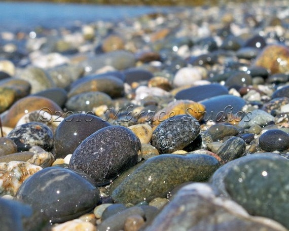 Smooth Rocks Fine Art Photograph - matted rocky beach 8x10 photo