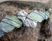 Brilliant Shell and Sea Glass Wire Wrapped Hair Barrette