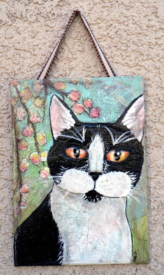 Black and White Kitty Original Acrylic Painting