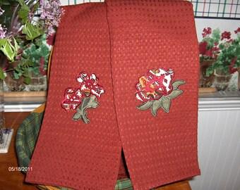 Two kitchen towels-LONGABERGER fabric-paisley flowers