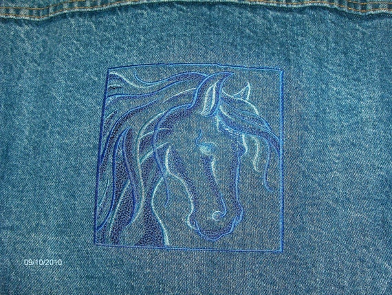 Mens jeans jacket-Embroidered with horse- Levi
