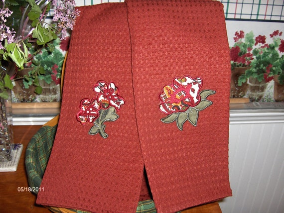 Two kitchen towels-LONGABERGER fabric-paisley flowers