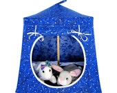 Toy Pop Up Tent, Sleeping Bags, royal blue, silver star print fabric