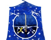 Toy Pop Up Tent, Sleeping Bags, royal blue, sparkling silver solar print fabric