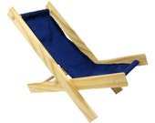 Toy Wooden Folding Lawn Chair, navy blue fabric for action figures, dolls, stuffed animals