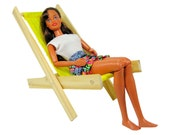 Toy Wooden Folding Doll Chair, yellow fabric