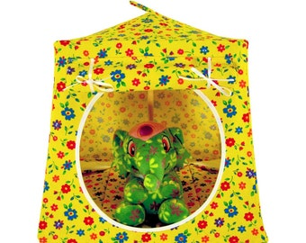 Toy Pop Up Tent, Sleeping Bags, yellow, flower print fabric for stuffed animals, dolls