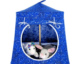 Toy Pop Up Tent, Sleeping Bags, royal blue, silver star print fabric for dolls, action figures or stuffed animals