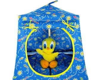 Toy Pop Up Tent, Sleeping Bags, light blue, sun & kite print fabric
